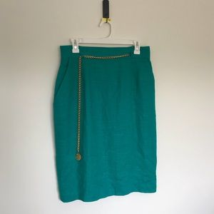 Vintage teal skirt with gold chain belt